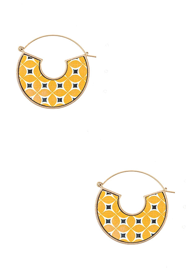 MIX PIRNT SEMI CIRCLE EARRING - orangeshine.com