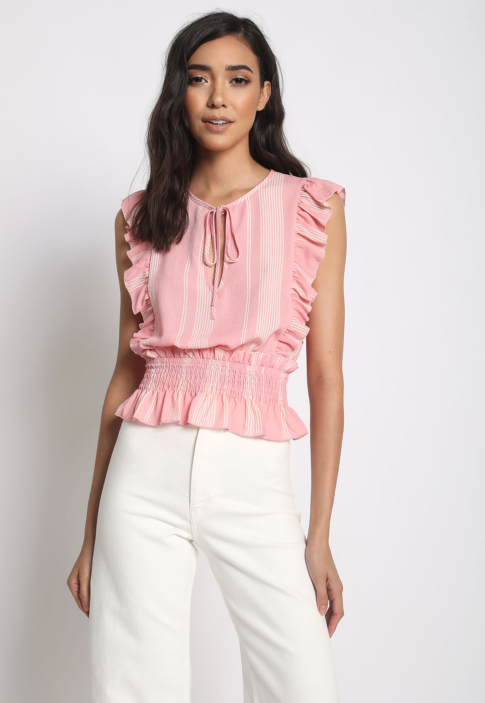 RUFFLE SMOCKED WAIST TOP - orangeshine.com
