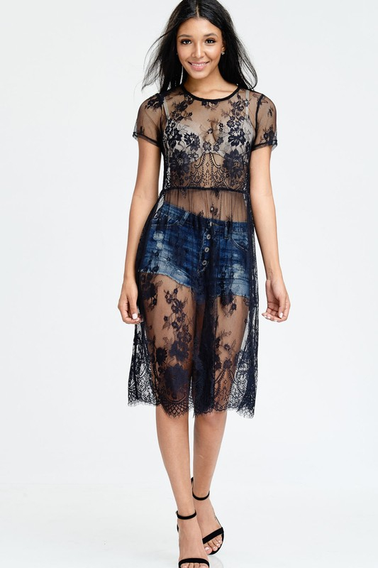 SEE THROUGH LACE MIDI DRESS - orangeshine.com