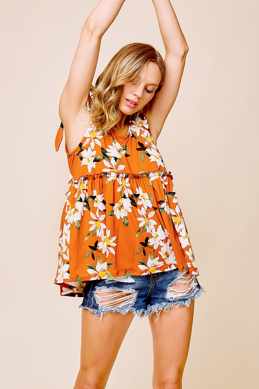 BOW SHOULDER FLORAL TOP - orangeshine.com