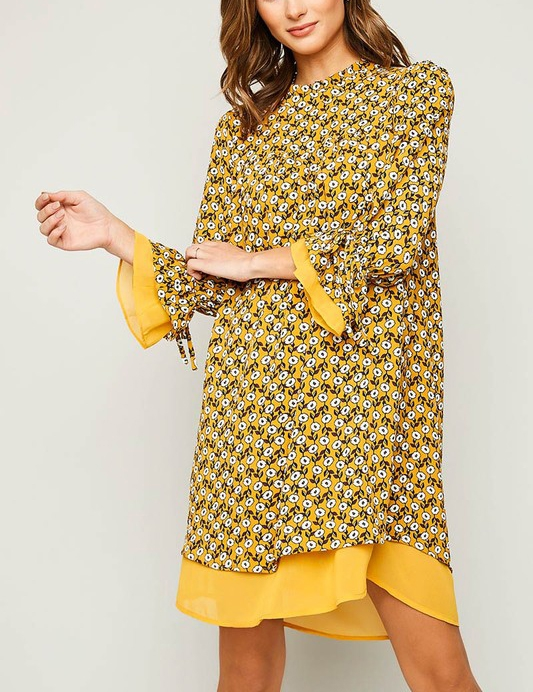 Printed High Collar Dress - orangeshine.com