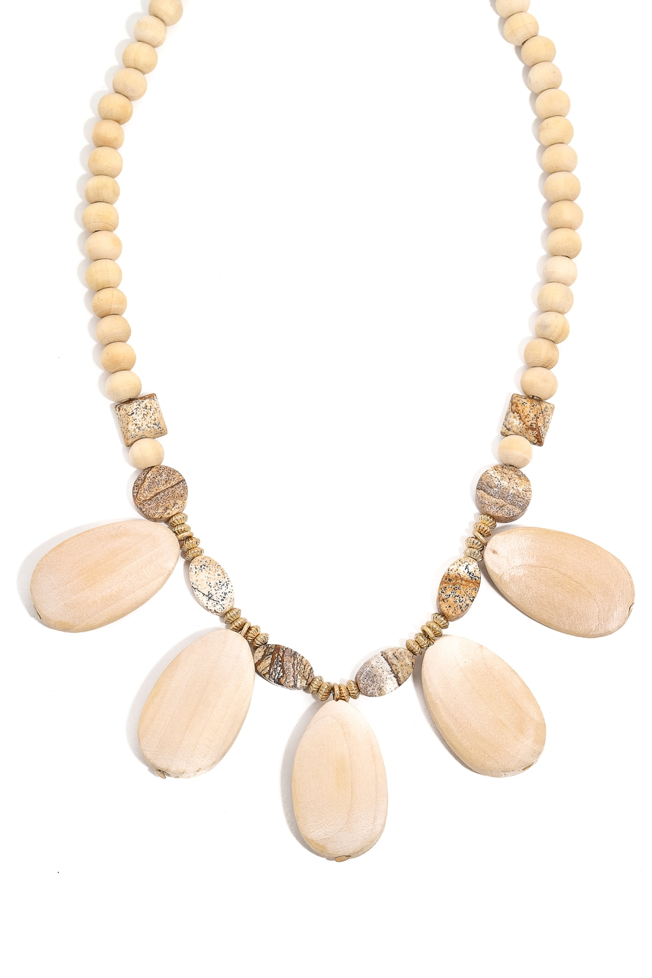 Wooden Oval Beaded Charm Necklace - orangeshine.com