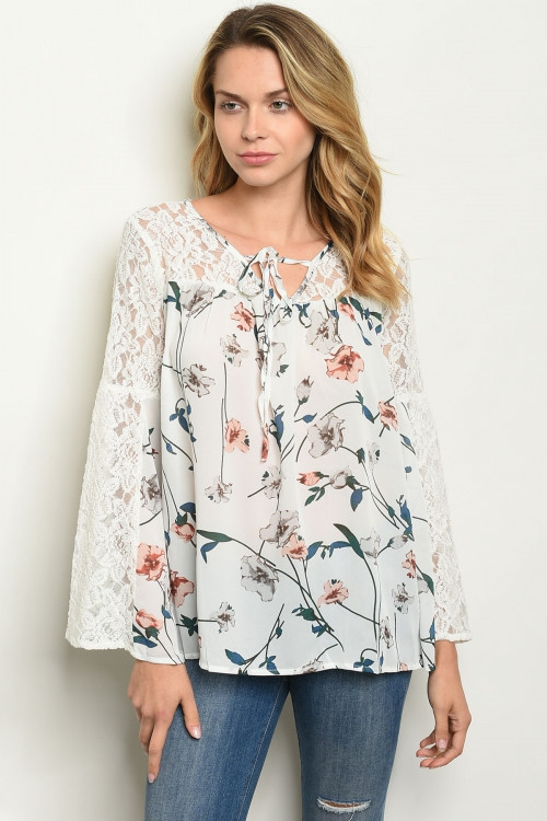 LONG LACE SLEEVE V NECK TIE TOP - orangeshine.com