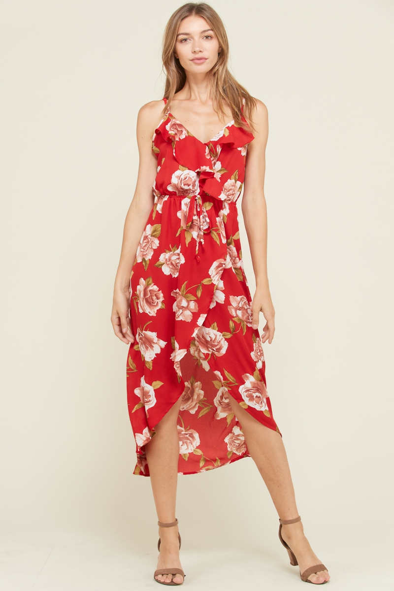 RUFFLE FLORAL MAXI WRAP DRESS - orangeshine.com