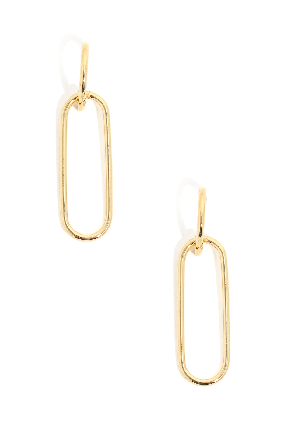 Metallic Oval Drop Hoop Earrings - orangeshine.com