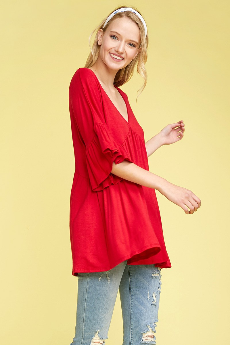 Knit Solid Babydoll Loose Fit Top - orangeshine.com