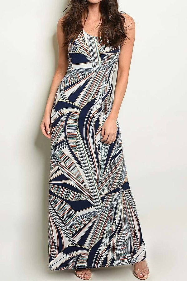 GEO PRINT MAXI DRESS - orangeshine.com