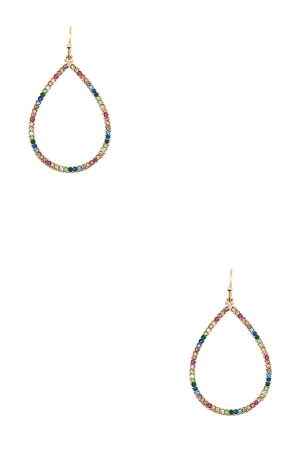 MULTI COLOR STONE TEARDROP EARRING - orangeshine.com