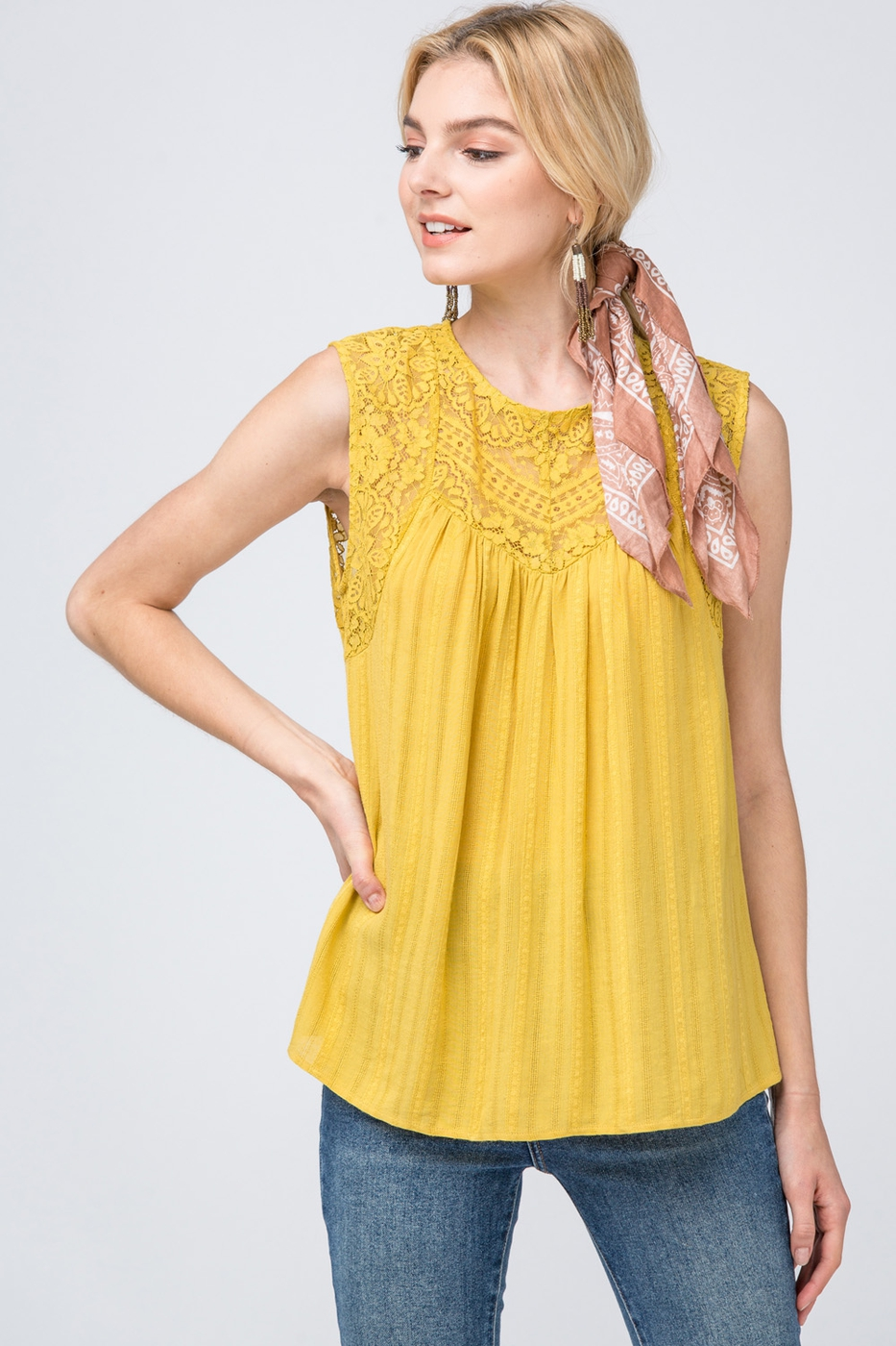 Textured sleeveless top - orangeshine.com
