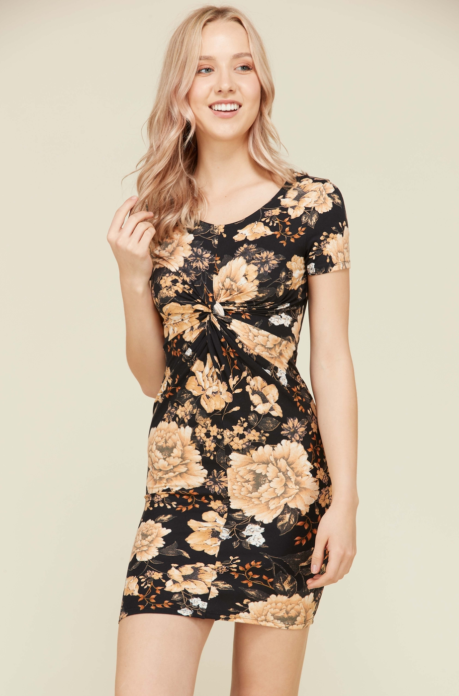 SHORT FLORAL FRONT TWIST DRESS - orangeshine.com