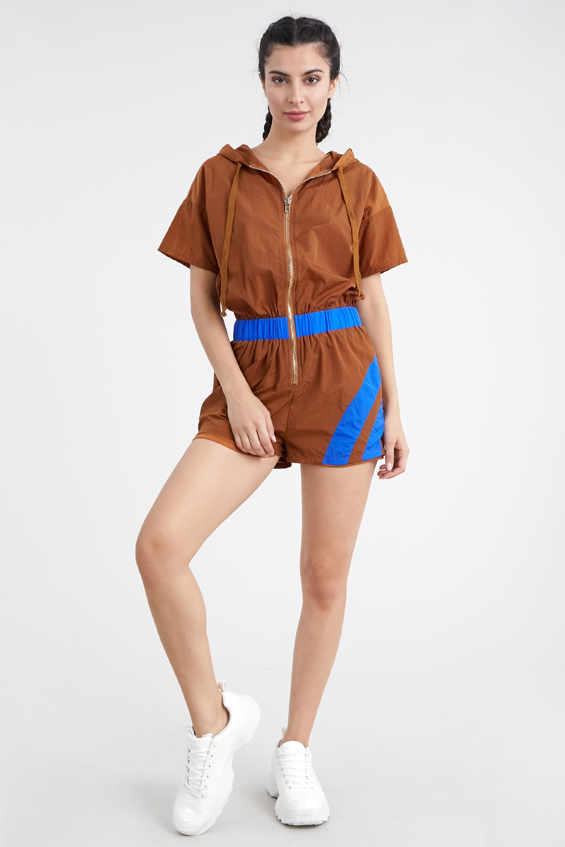 Hooded multi-color romper - orangeshine.com