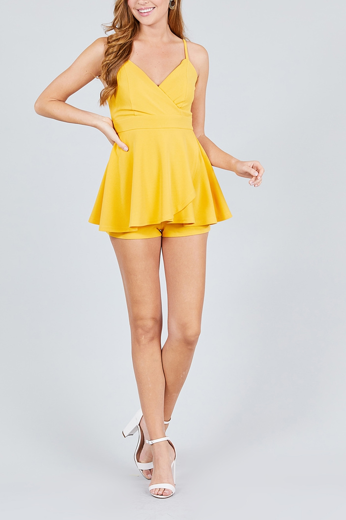OVERLAY PLEATED DETAIL ROMPER - orangeshine.com