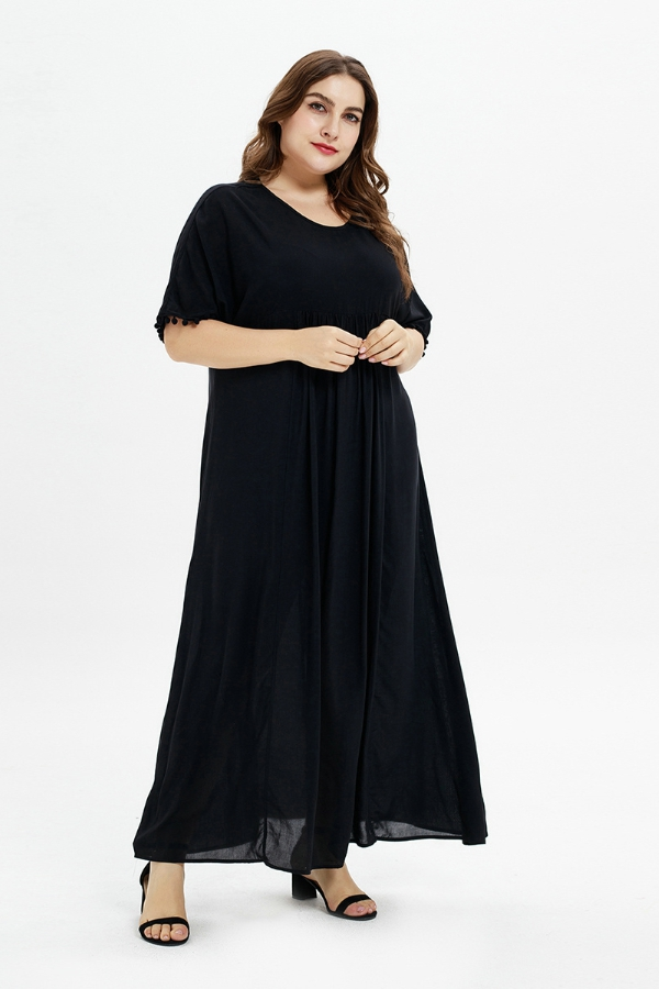 Women Solid Color Maxi Plus Dress - orangeshine.com
