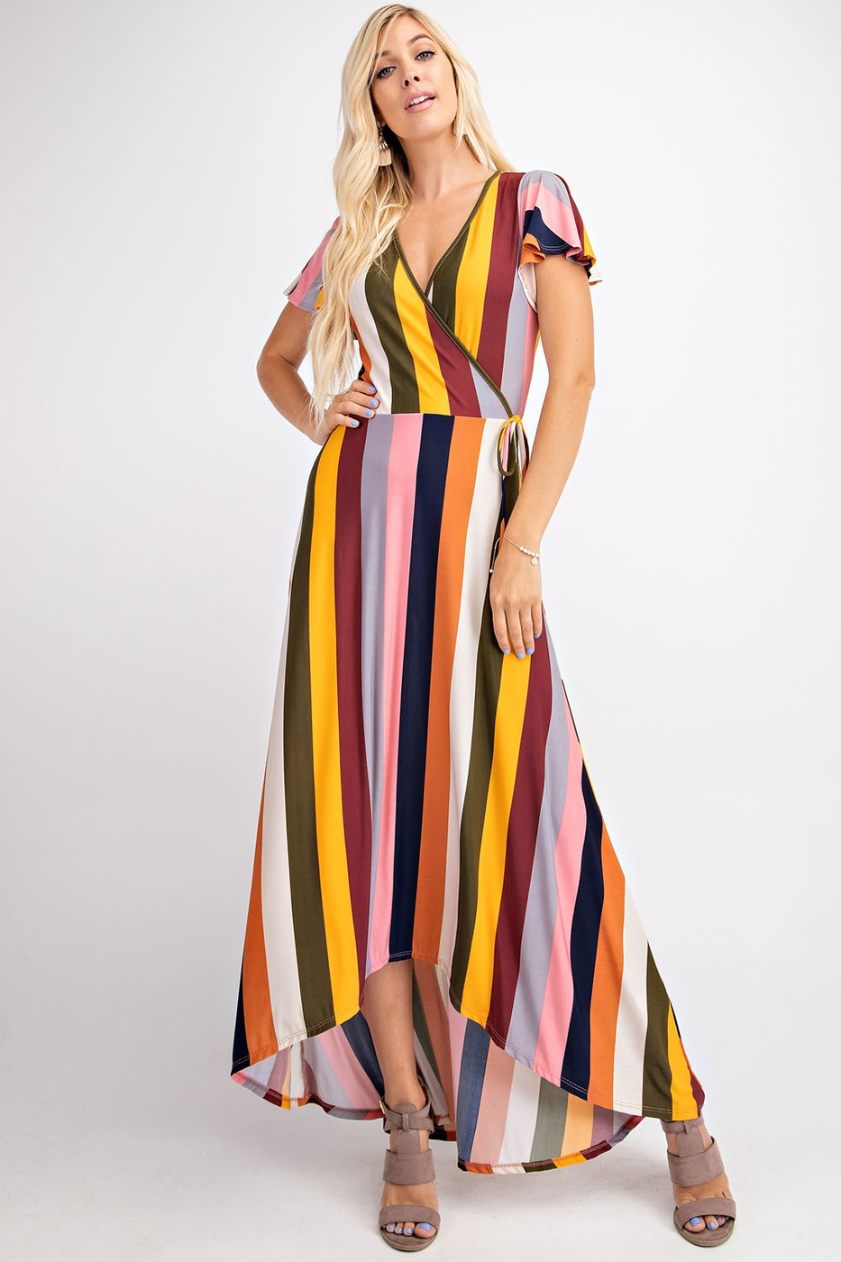 MULTI COLOR VERTICAL STRIP MAXI DRES - orangeshine.com