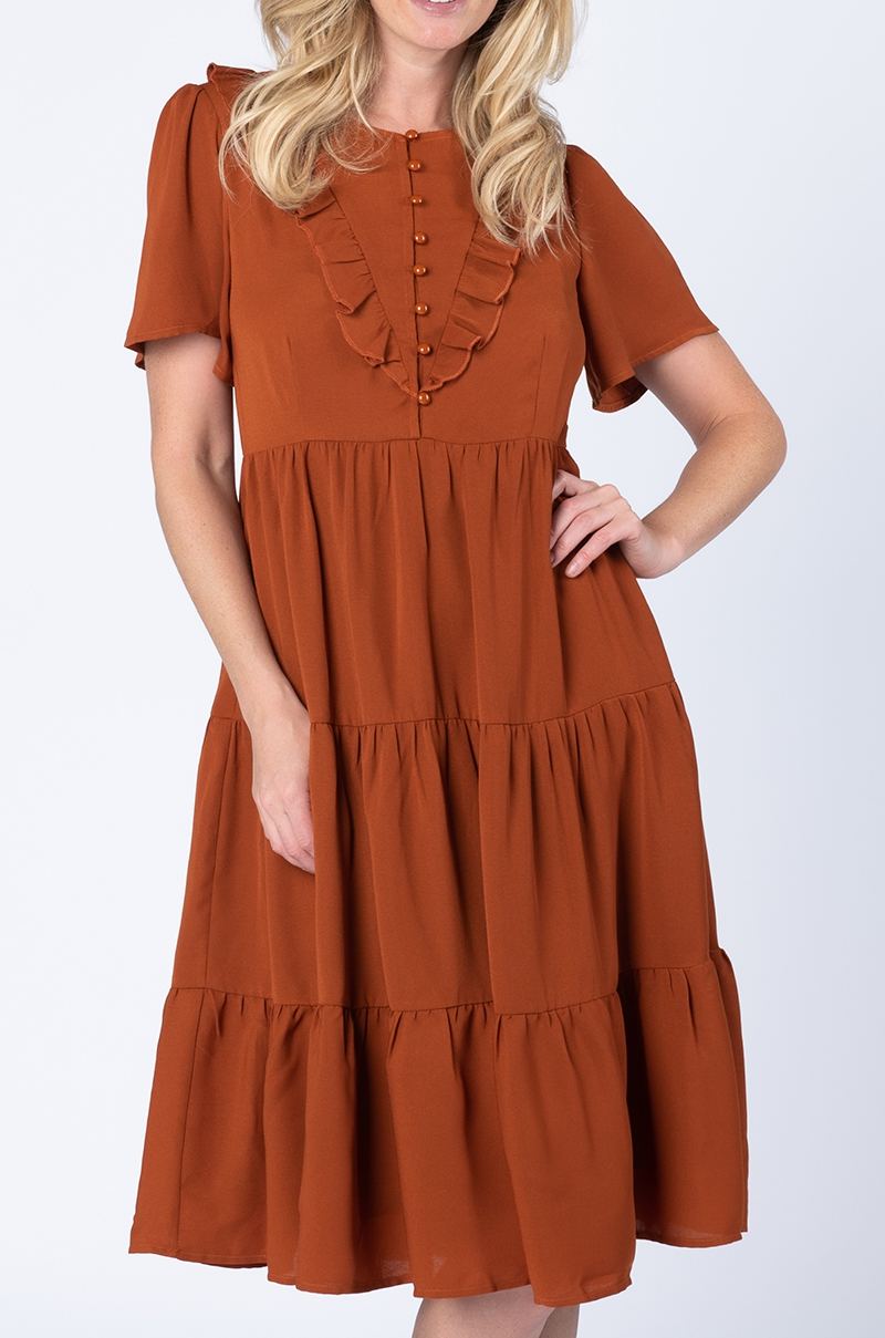 RUFFLE TIERED DRESS - orangeshine.com