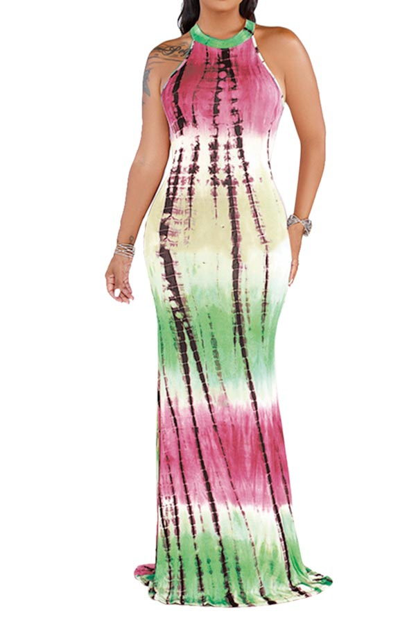 MULTI COLORED AND SLEEVELESS MAXI  - orangeshine.com