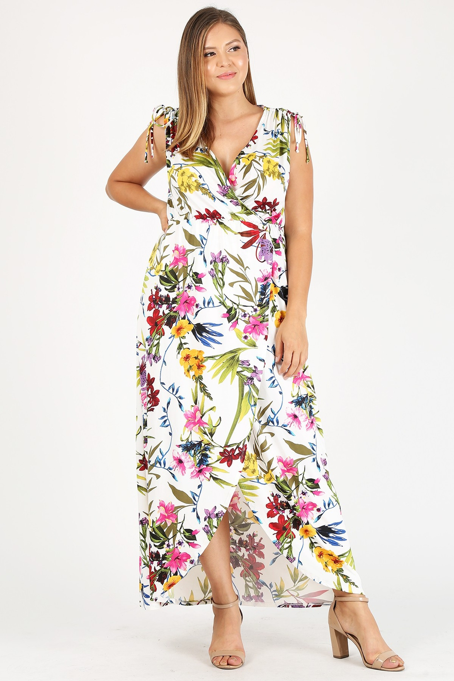 PS Floral Sleeveless Wrap Maxi Dress - orangeshine.com