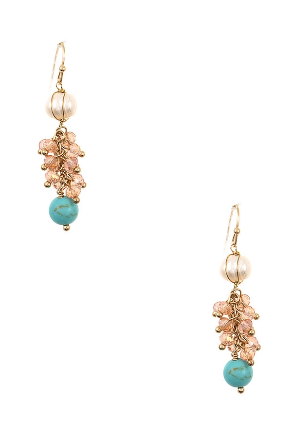 Cluster Pearl Bead Dangle Earring - orangeshine.com