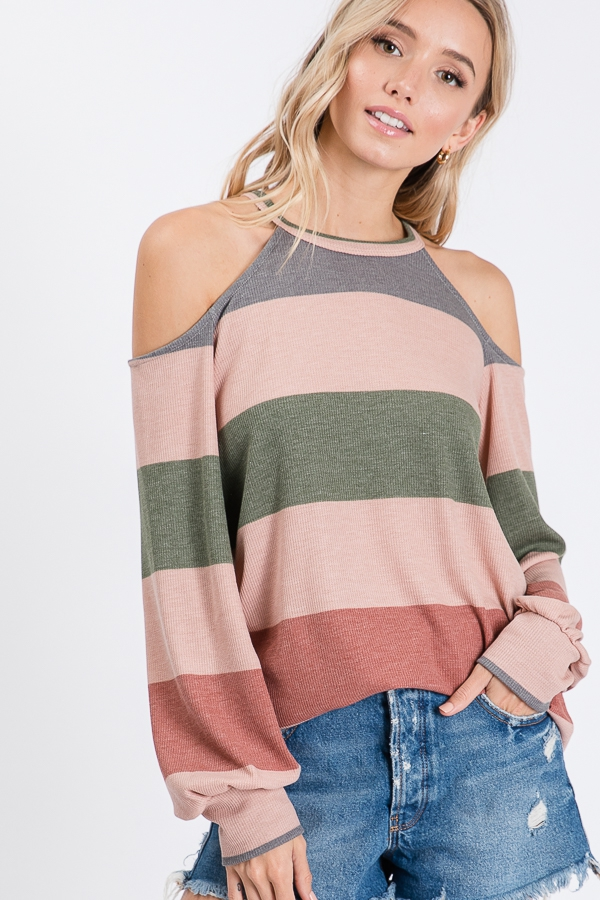 STRIPED OPEN SHOULDER TOP  - orangeshine.com