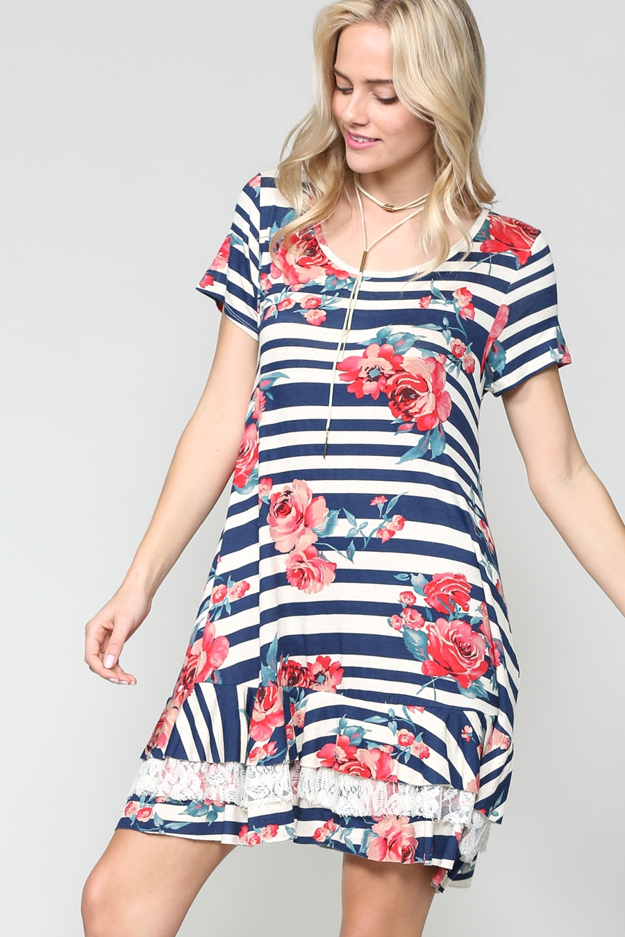 FLORAL STRIPED RUFFLE HEM DRESS - orangeshine.com