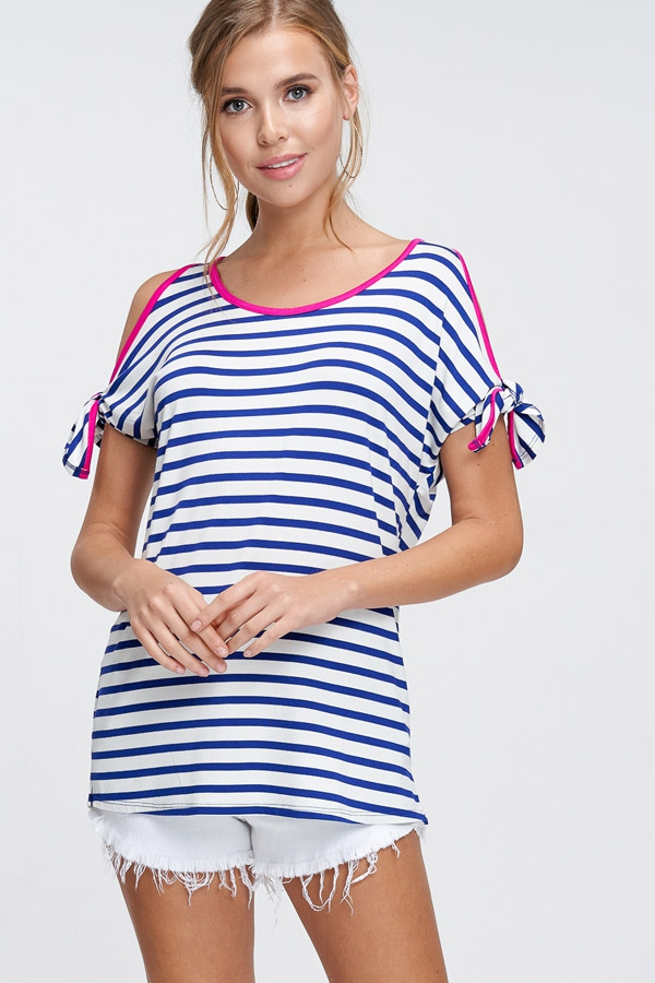 Striped Knit Top With Knot Sleeves - orangeshine.com