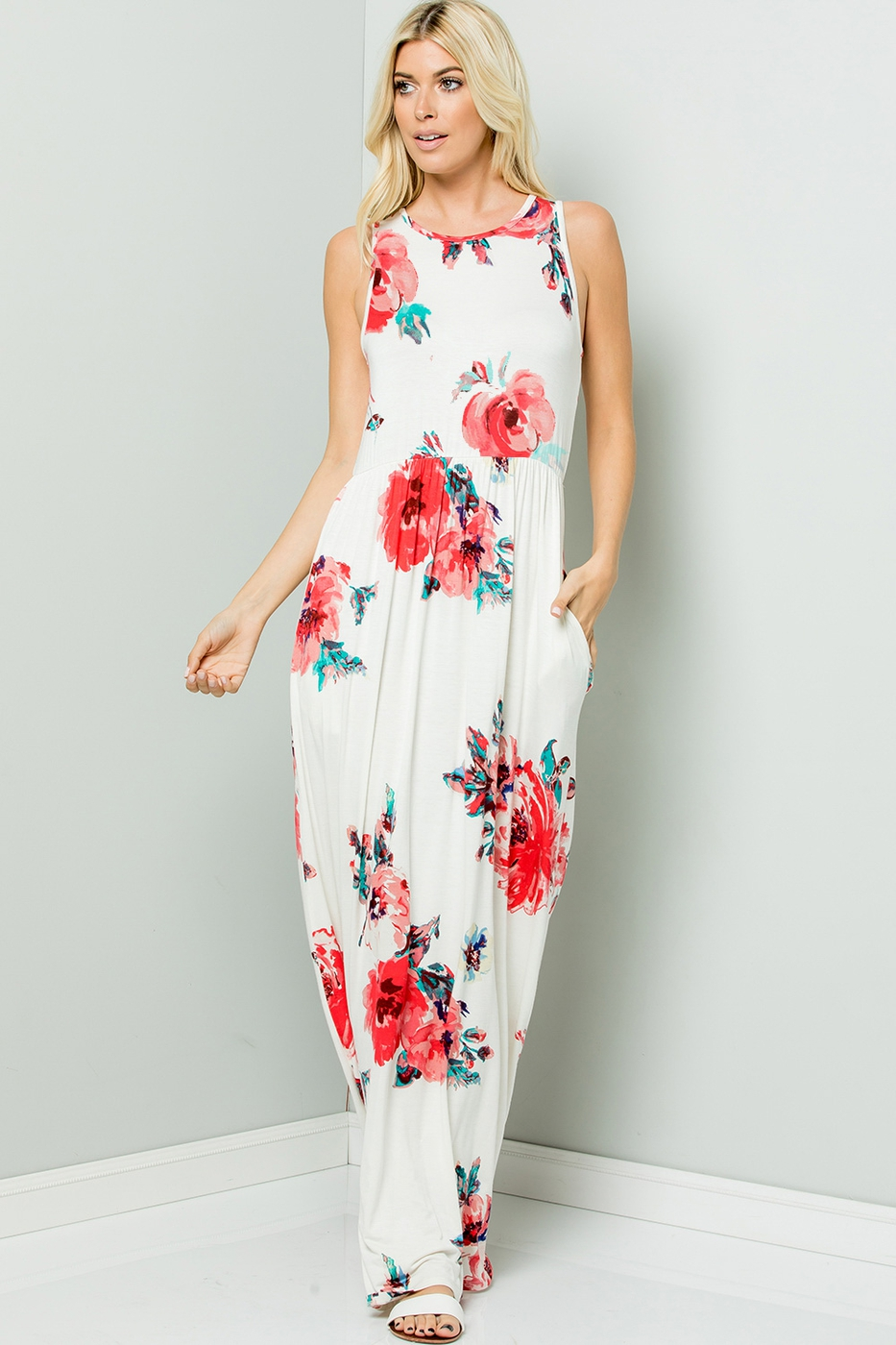 Maxi Dress floral with pocket - orangeshine.com