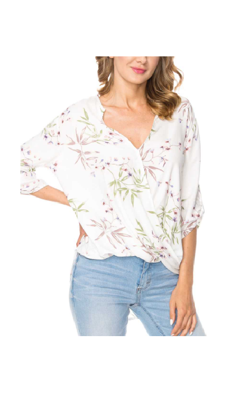 FLORAL CREPE SURPLICE ROLL UP SHIRT - orangeshine.com