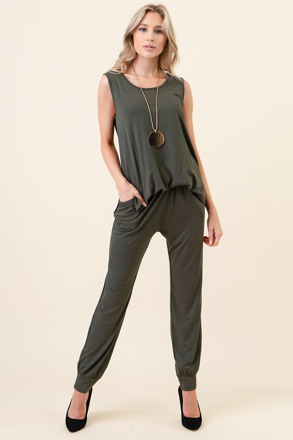 Detached Back Tank Jogger Jumpsuit - orangeshine.com