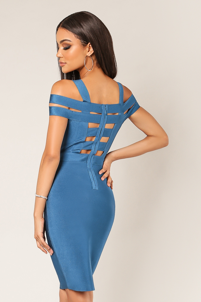 Multi Band Cold Shoulder Dress - orangeshine.com