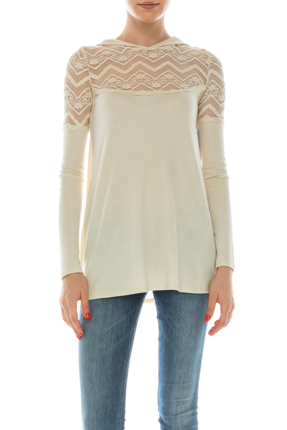 LACE HOOD TOP - orangeshine.com