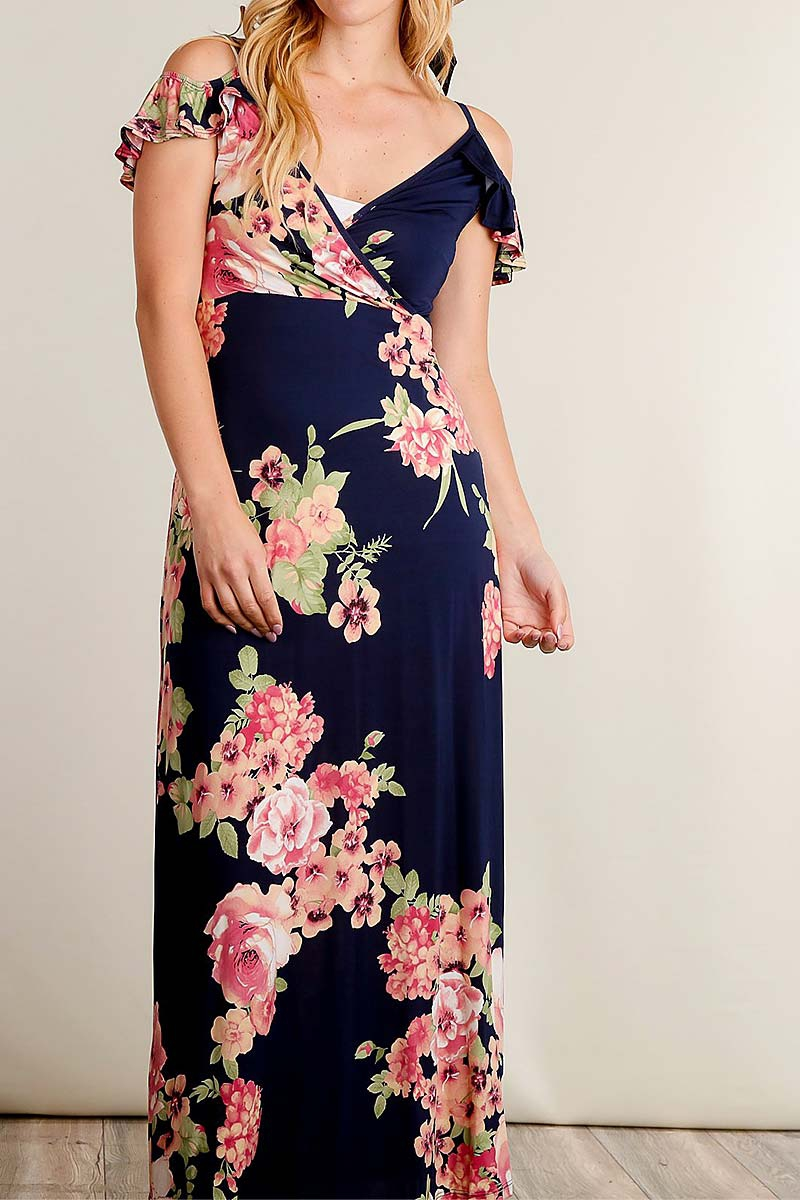 FLORAL PRINT OFF SHOULDER DRESS - orangeshine.com