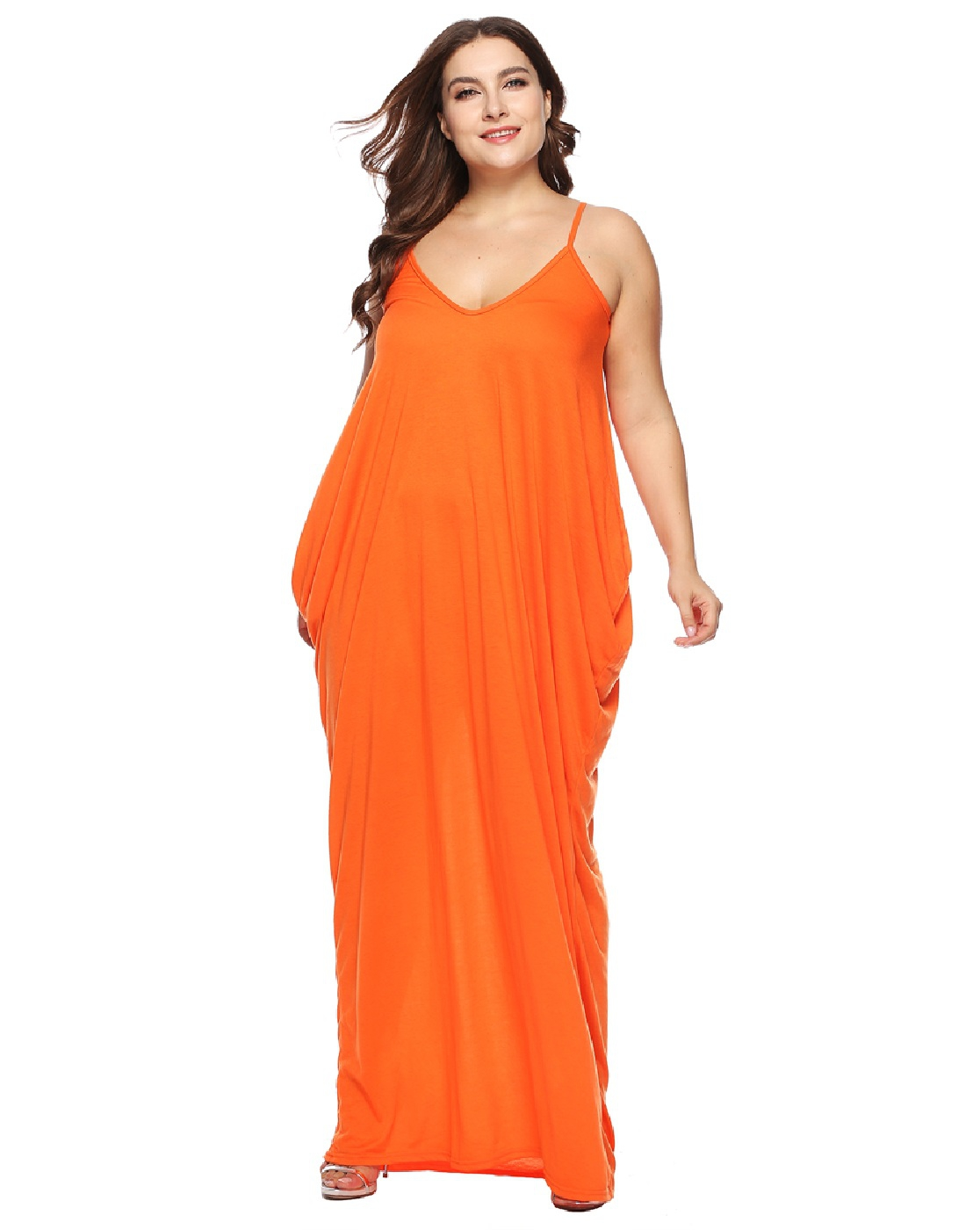 PLUS SIZE POCKET V NECK DRESS - orangeshine.com