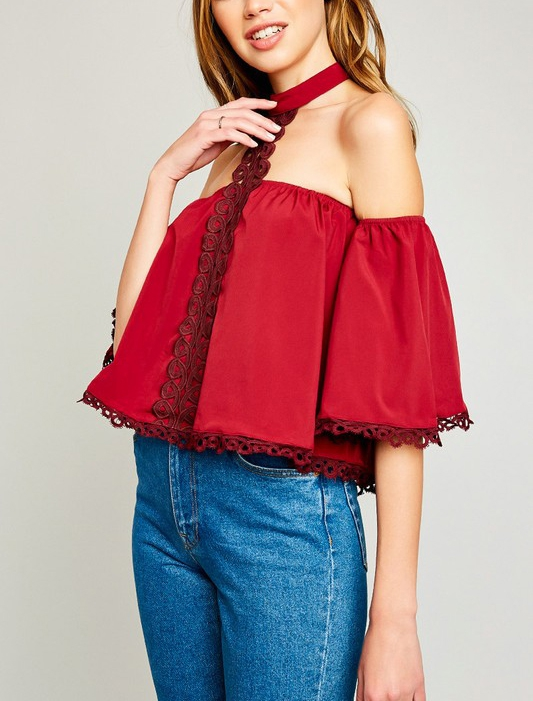 Off Shoulder Top With Lace Choker - orangeshine.com