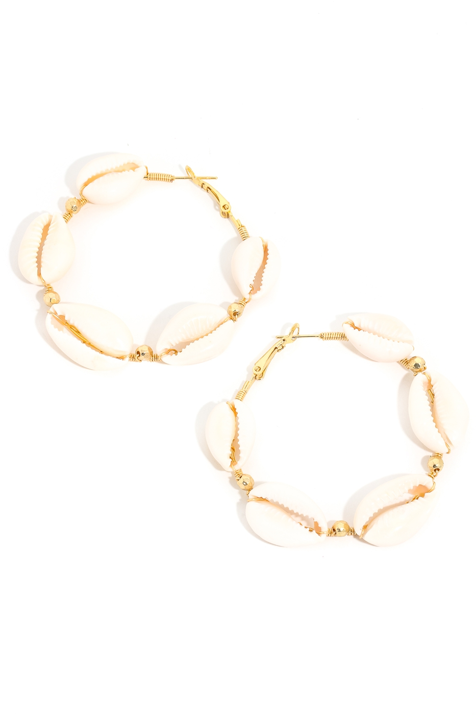 Puka Shell Linked Hoop Earrings - orangeshine.com
