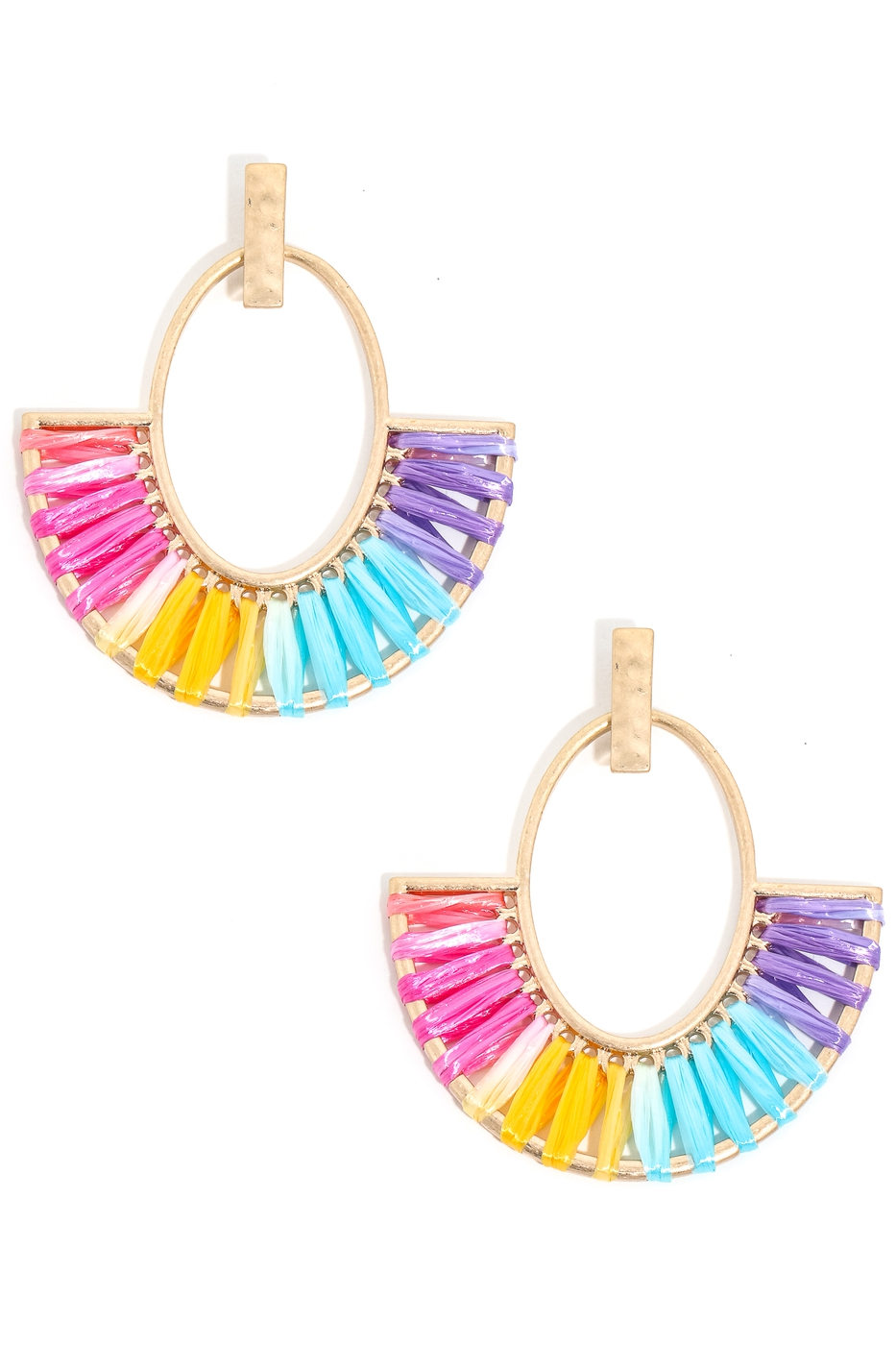 Raffia Wrap Half Disc Drop Earrings - orangeshine.com