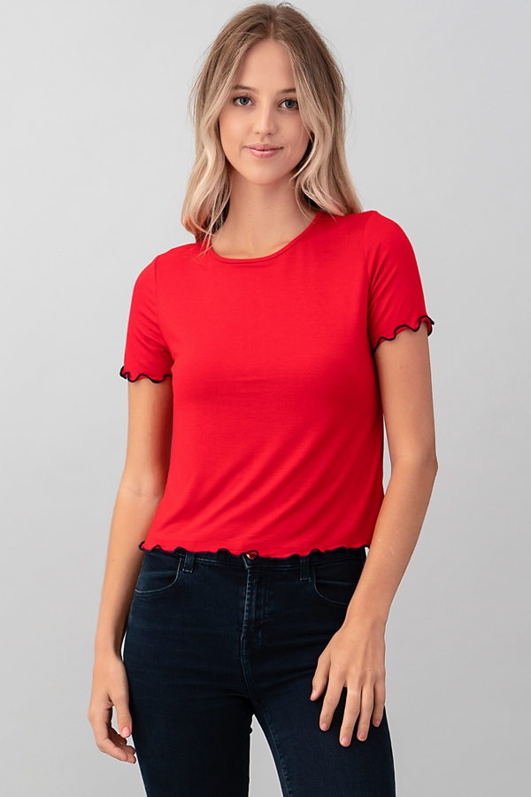 SHORT SLEEVE CONTRAST MERROW TOP - orangeshine.com