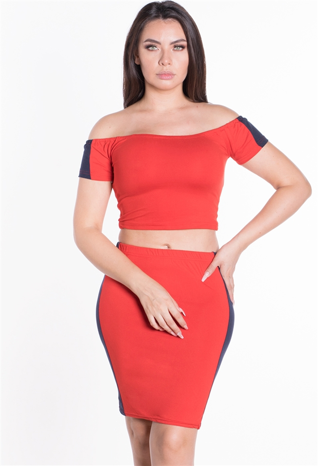 Body Con Crop Top Skirt 2PC Set - orangeshine.com