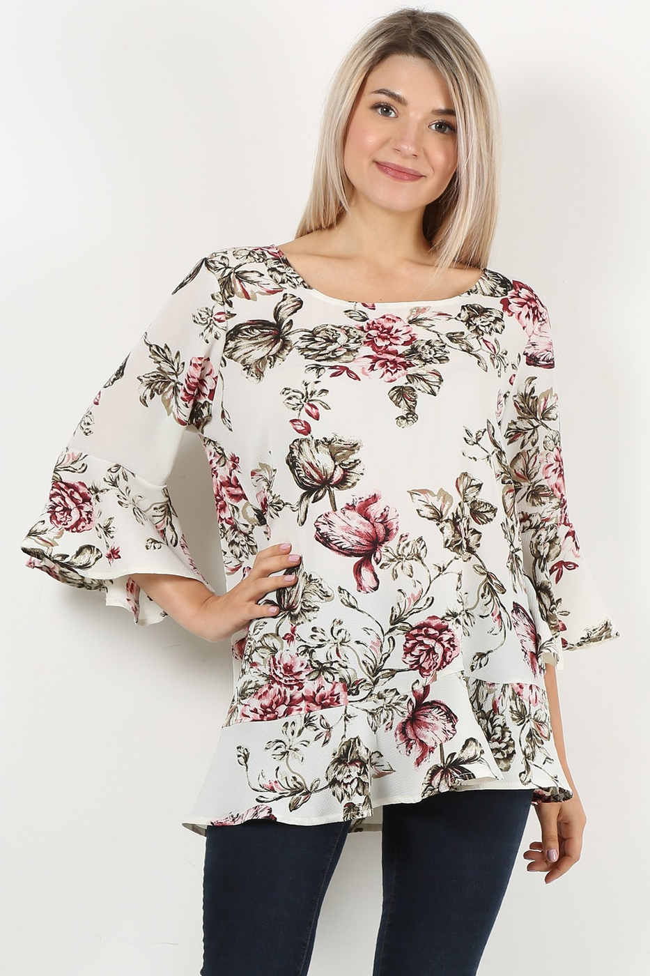 floral bell sleeve top - orangeshine.com