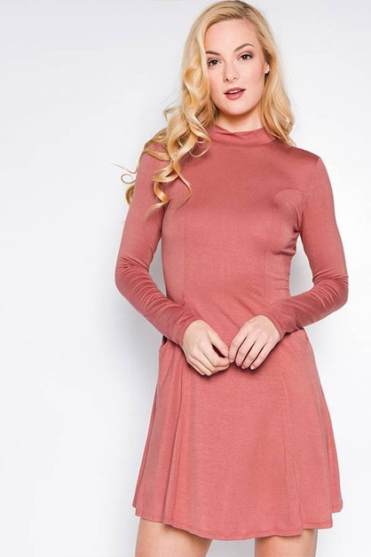 Mock Neck Slim Fit Dress - orangeshine.com