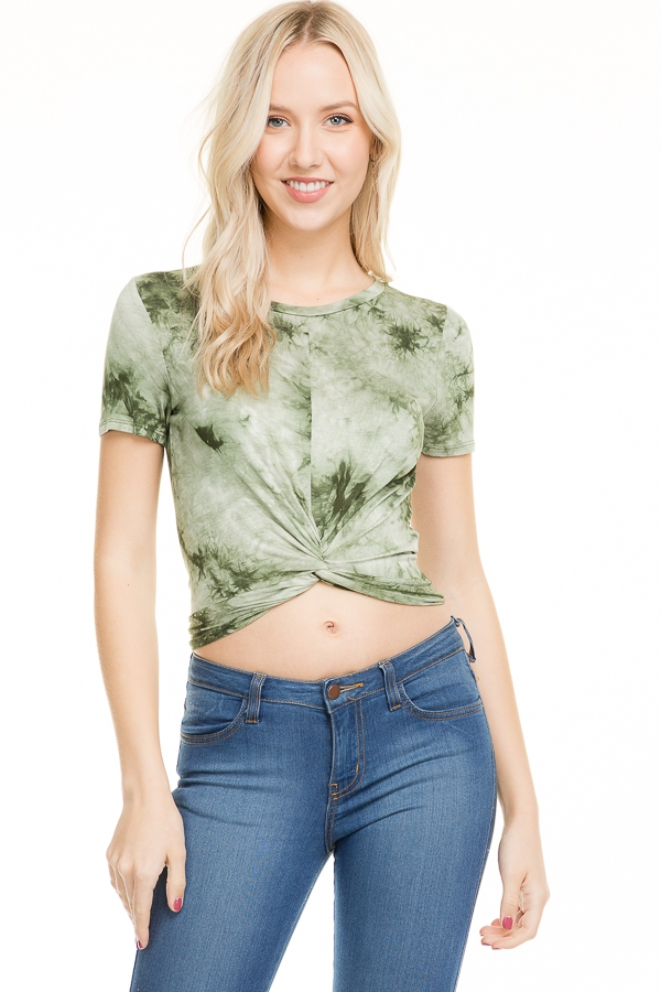 TIE DYE FRONT TWISTED CROP TOP - orangeshine.com