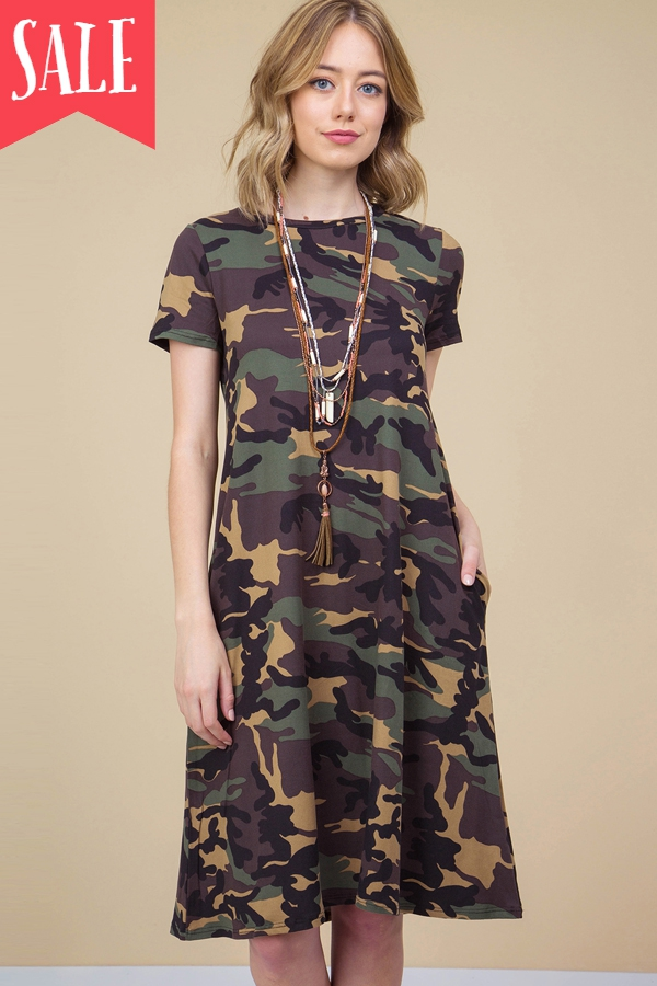 CAMOUFLAGE PRINT MIDI DRESS - orangeshine.com