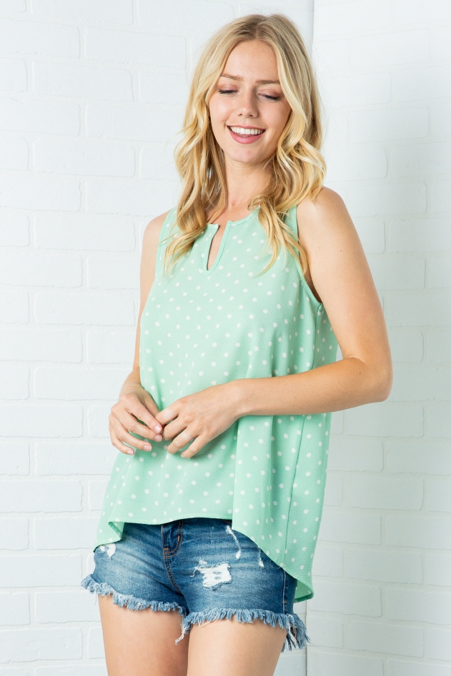 PLUS POLKA DOT SLEEVELESS TOP - orangeshine.com