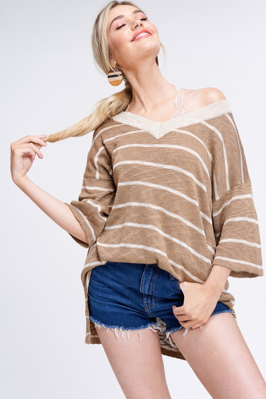 Thread Stripe Loose Fit Sweater  - orangeshine.com