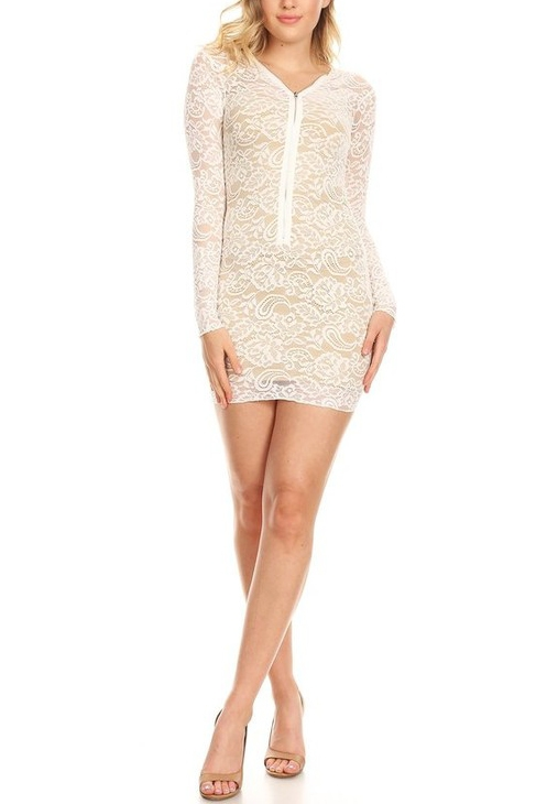 Lace bodycon mini dress with long  - orangeshine.com