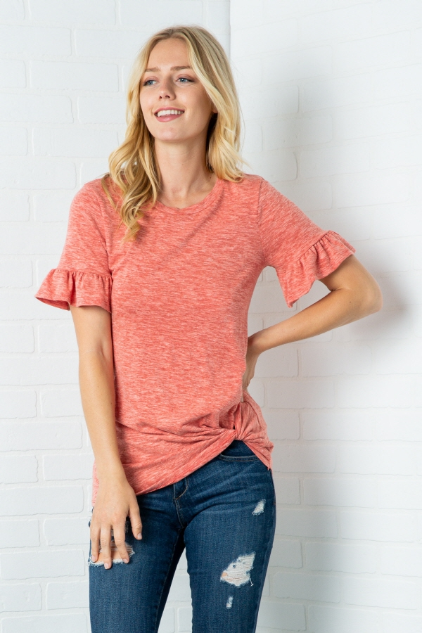 SOLID RUFFLED SHORT SLEEVE WITH TWIS - orangeshine.com