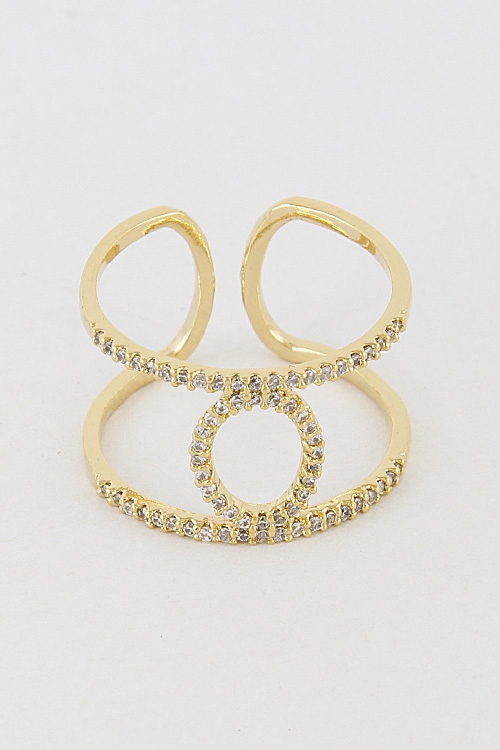Rhinestone Open Cut Ring 7BAB3 - orangeshine.com