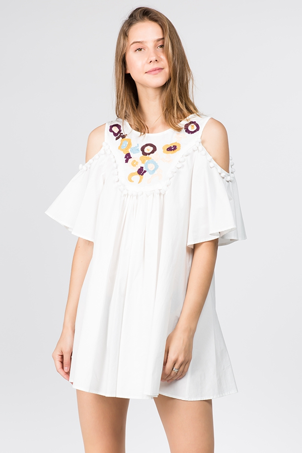 EMBROIDERED ROUND NECK MINI DRESS(TO - orangeshine.com