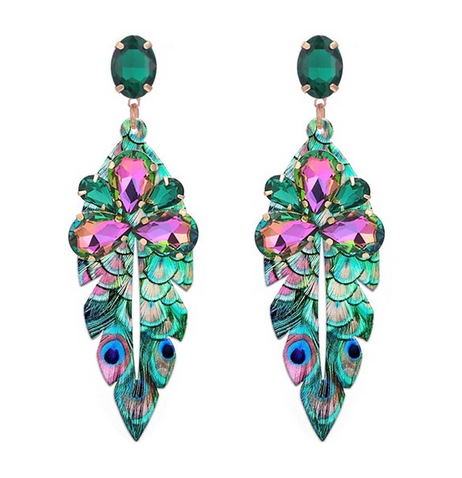 Peacock Crystal Statement Earrings - orangeshine.com
