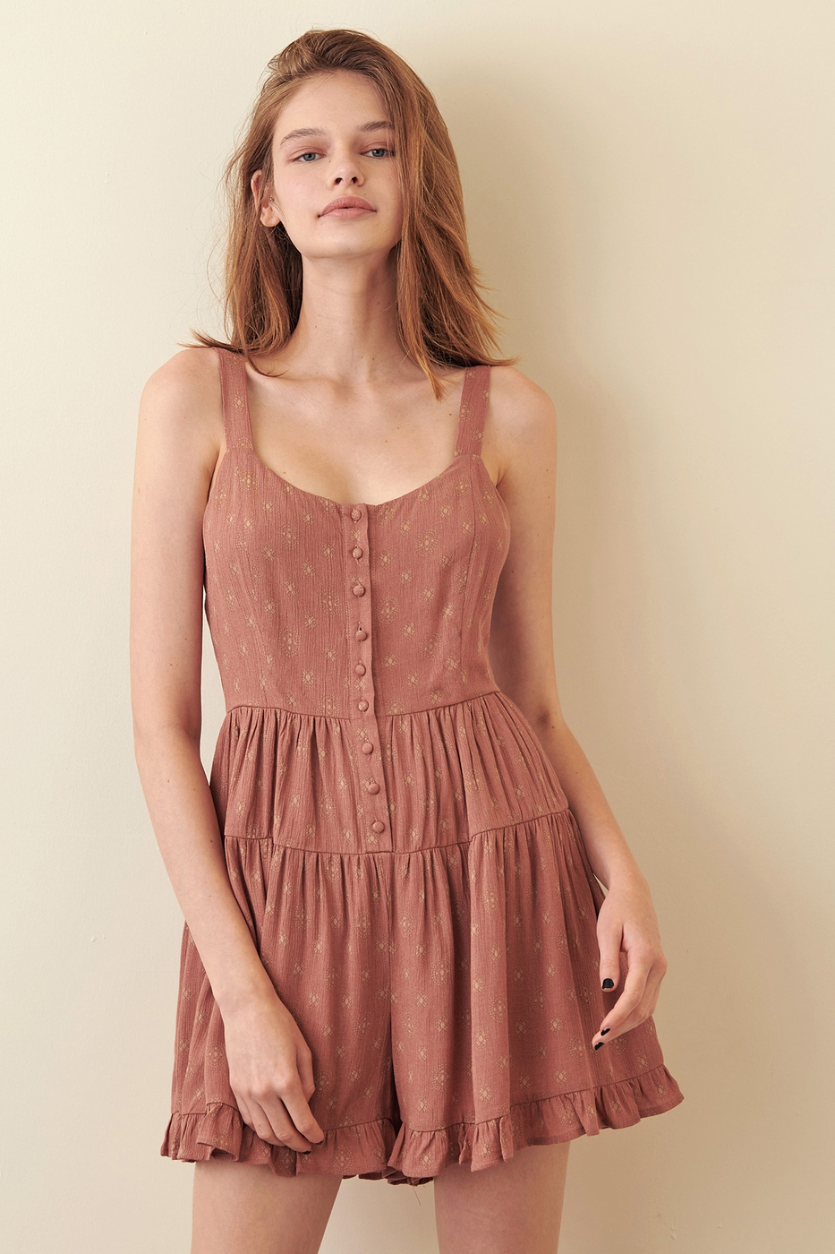 SLEEVELESS RUFFLED ROMPER BUTTON DOW - orangeshine.com