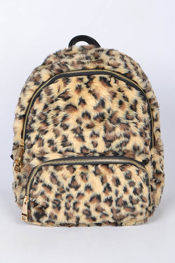 Leopard Faux Fur Backpack - orangeshine.com